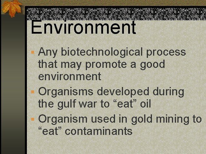Environment § Any biotechnological process that may promote a good environment § Organisms developed