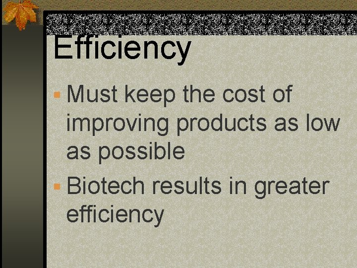 Efficiency § Must keep the cost of improving products as low as possible §