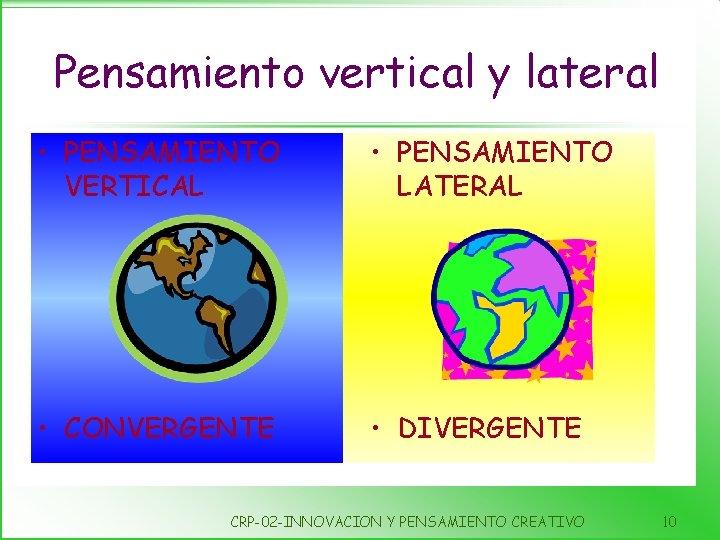 Pensamiento vertical y lateral • PENSAMIENTO VERTICAL • PENSAMIENTO LATERAL • CONVERGENTE • DIVERGENTE