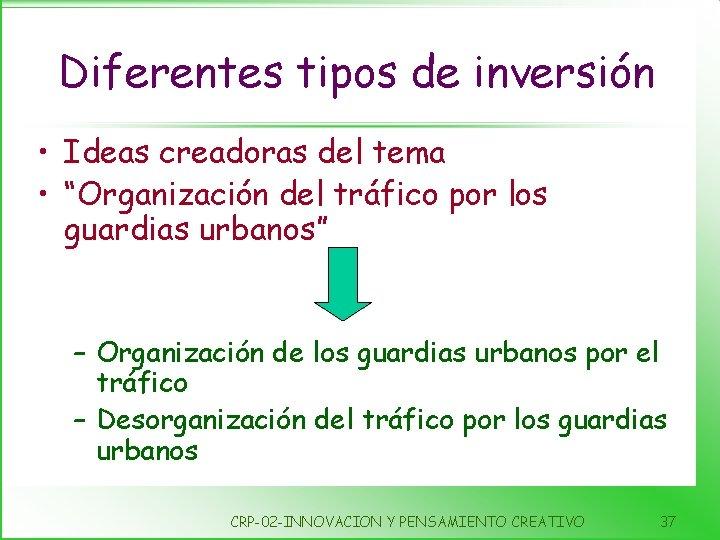"""Diferentes tipos de inversión • Ideas creadoras del tema • """"Organización del tráfico por"""