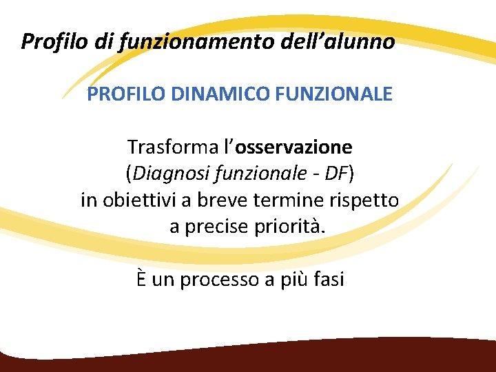 Profilo di funzionamento dell'alunno PROFILO DINAMICO FUNZIONALE Trasforma l'osservazione (Diagnosi funzionale - DF) in