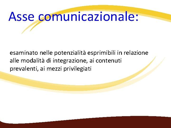 Asse comunicazionale: esaminato nelle potenzialità esprimibili in relazione alle modalità di integrazione, ai