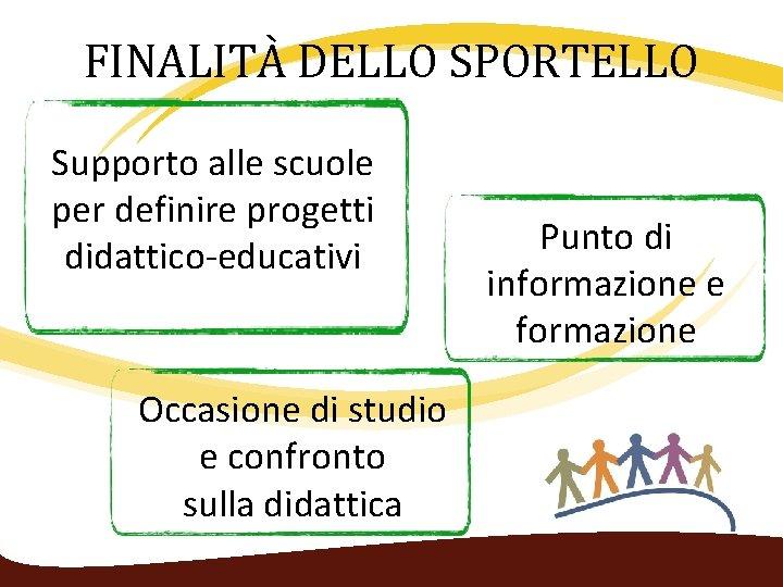 FINALITÀ DELLO SPORTELLO Supporto alle scuole per definire progetti didattico‐educativi Occasione di studio e