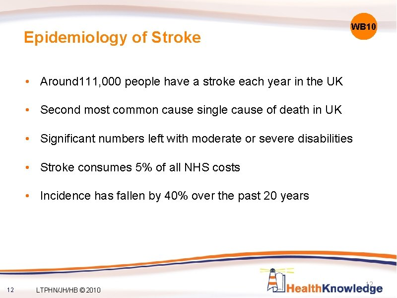 Epidemiology of Stroke WB 10 • Around 111, 000 people have a stroke each