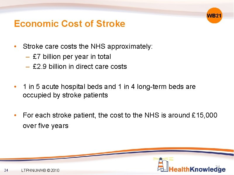Economic Cost of Stroke WB 21 • Stroke care costs the NHS approximately: –