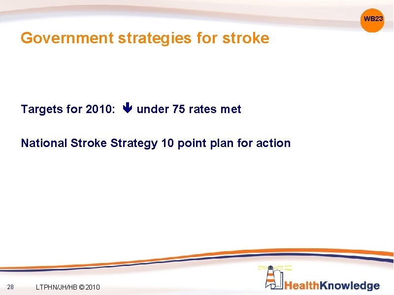 WB 23 Government strategies for stroke Targets for 2010: under 75 rates met National