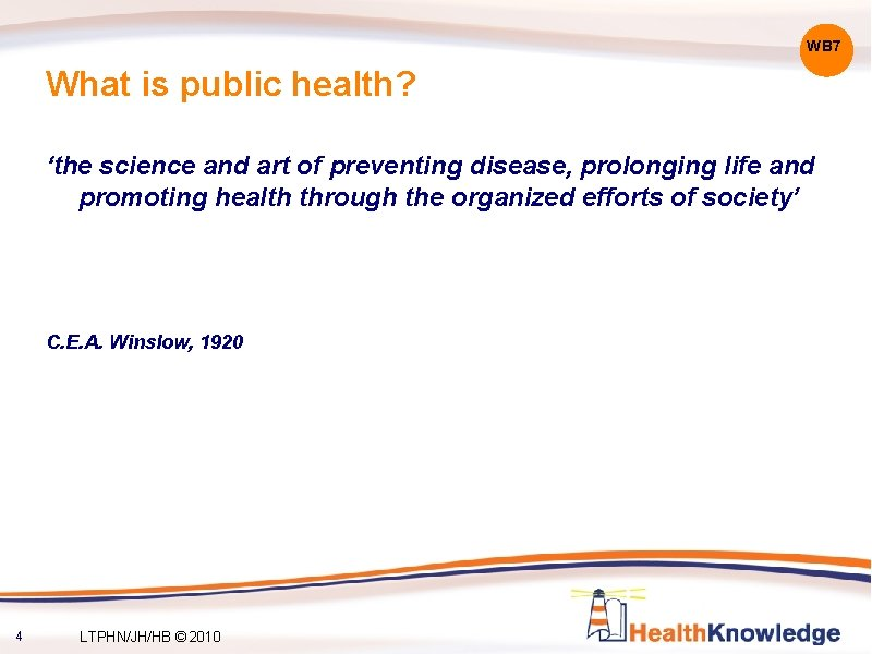 WB 7 What is public health? 'the science and art of preventing disease, prolonging