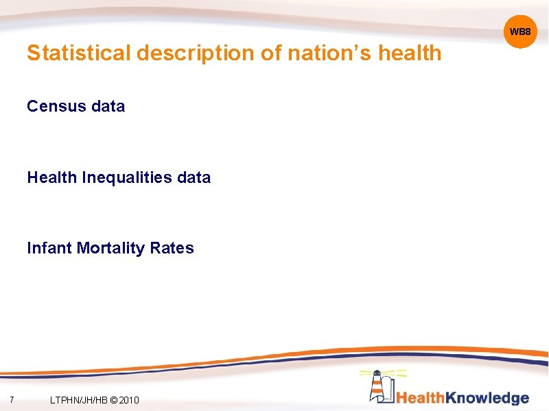 WB 8 Statistical description of nation's health Census data Health Inequalities data Infant Mortality