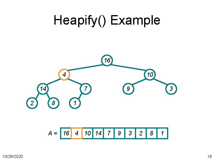 Heapify() Example 16 4 10 14 2 7 8 3 1 A = 16