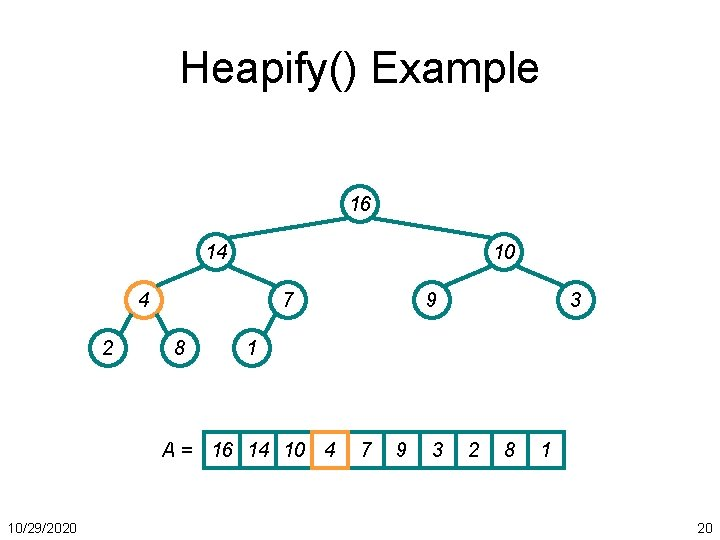 Heapify() Example 16 14 10 4 2 7 8 3 1 A = 16