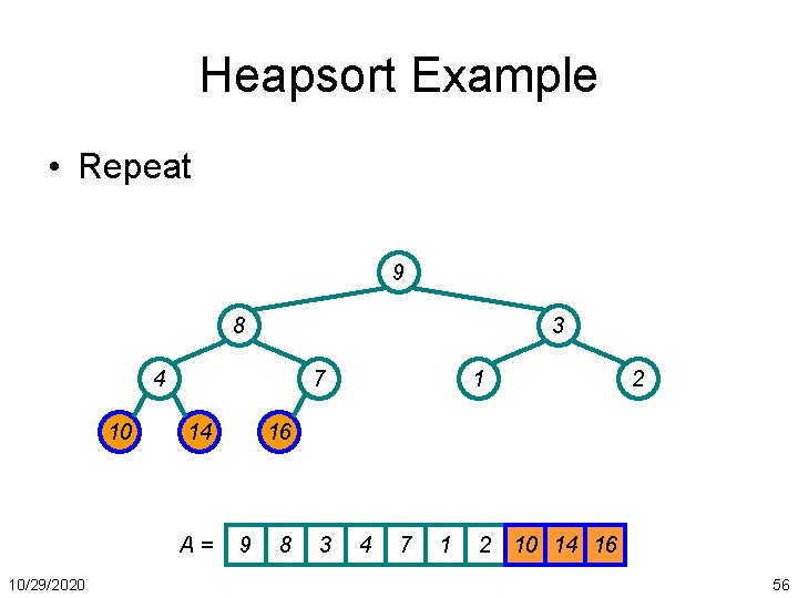 Heapsort Example • Repeat 9 8 3 4 10 7 14 A= 10/29/2020 1