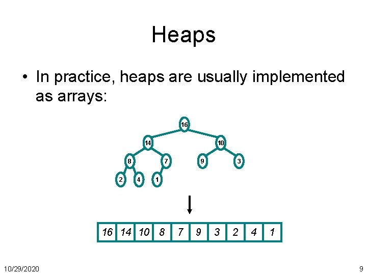 Heaps • In practice, heaps are usually implemented as arrays: 16 14 10 8