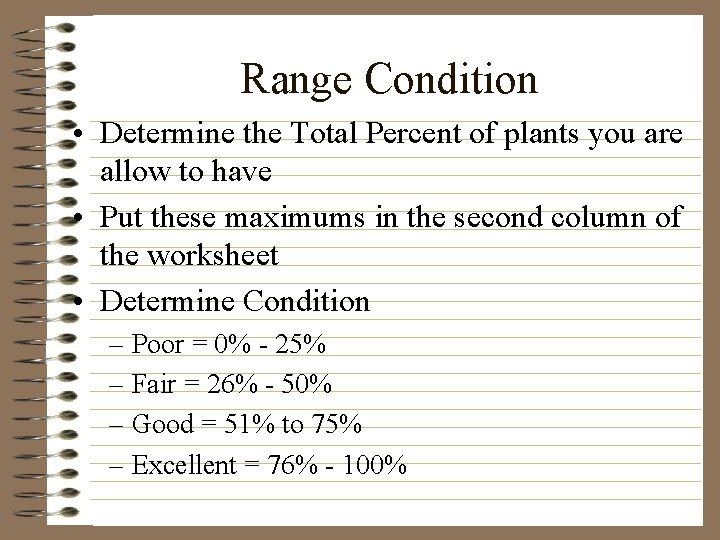Range Condition • Determine the Total Percent of plants you are allow to have
