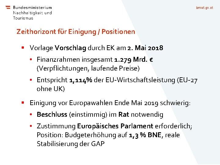 bmnt. gv. at Zeithorizont für Einigung / Positionen § Vorlage Vorschlag durch EK am