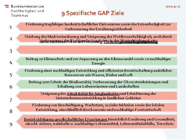 bmnt. gv. at 9 Spezifische GAP Ziele 1 Förderung tragfähiger landwirtschaftlicher Einkommen sowie der
