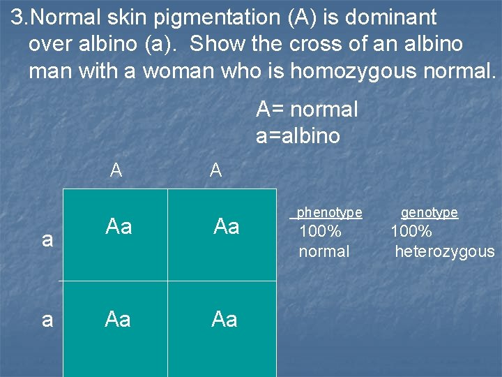 3. Normal skin pigmentation (A) is dominant over albino (a). Show the cross of