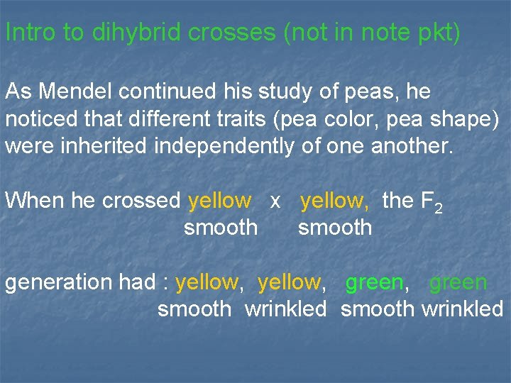 Intro to dihybrid crosses (not in note pkt) As Mendel continued his study of