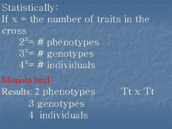 Statistically: If x = the number of traits in the cross x 2 =