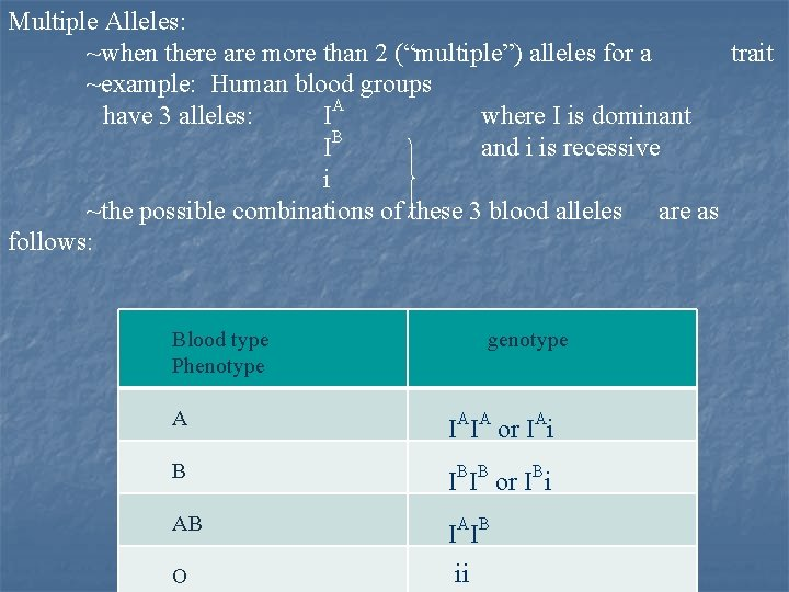 """Multiple Alleles: ~when there are more than 2 (""""multiple"""") alleles for a trait ~example:"""