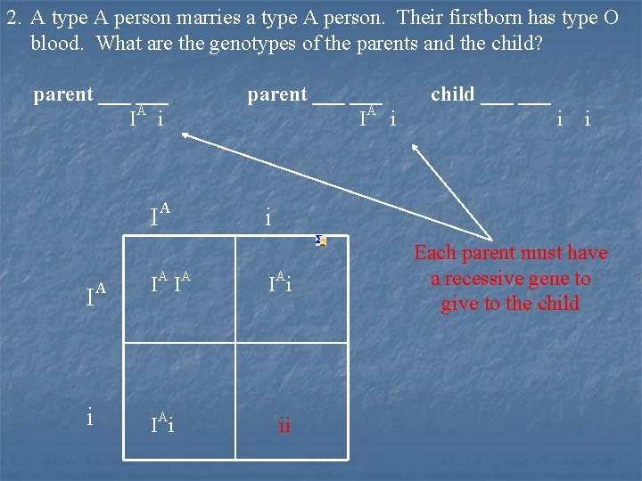 2. A type A person marries a type A person. Their firstborn has type