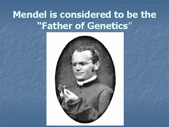 """Mendel is considered to be the """"Father of Genetics"""""""