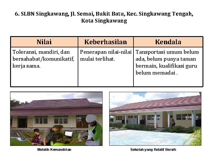 6. SLBN Singkawang, Jl. Semai, Bukit Batu, Kec. Singkawang Tengah, Kota Singkawang Nilai Toleransi,