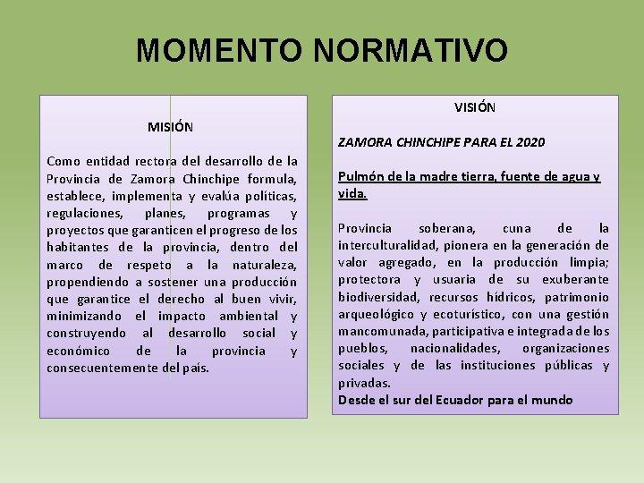 MOMENTO NORMATIVO VISIÓN MISIÓN Como entidad rectora del desarrollo de la Provincia de Zamora