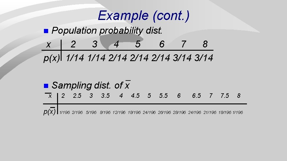 Example (cont. ) Population probability dist. x 2 3 4 5 6 7 8