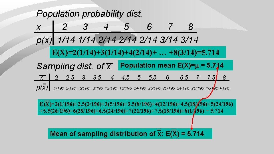Population probability dist. x 2 3 4 5 6 7 8 p(x) 1/14 2/14