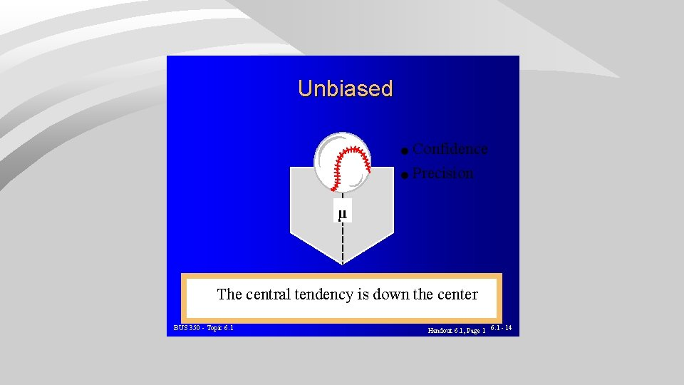 Unbiased l Confidence l Precision µ The central tendency is down the center BUS
