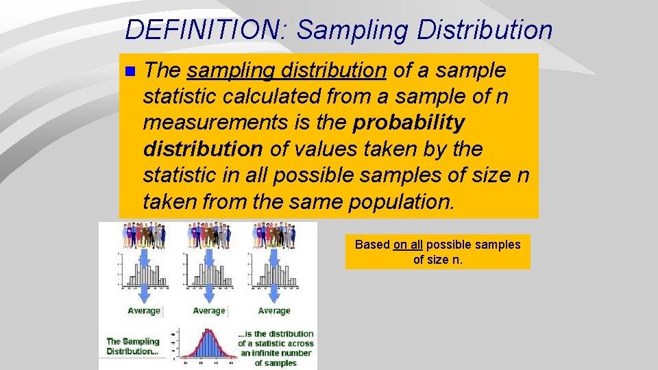 DEFINITION: Sampling Distribution n The sampling distribution of a sample statistic calculated from a