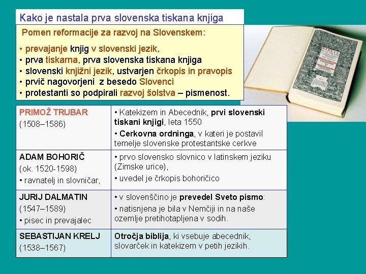 Kako je nastala prva slovenska tiskana knjiga Pomen reformacije za razvoj na Slovenskem: •