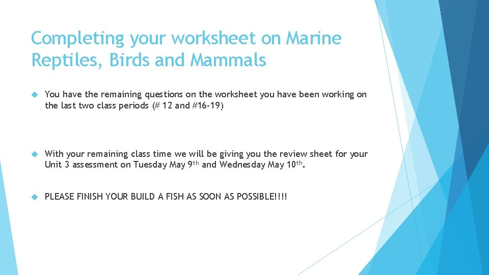 Completing your worksheet on Marine Reptiles, Birds and Mammals You have the remaining questions