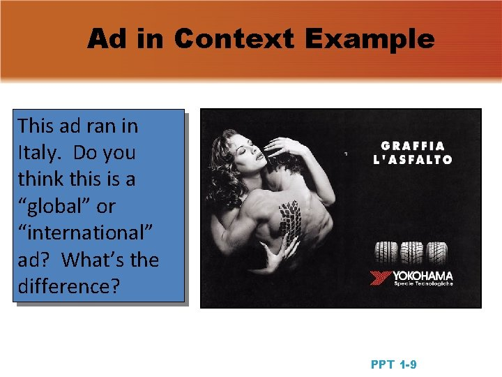 Ad in Context Example This ad ran in Italy. Do you think this is