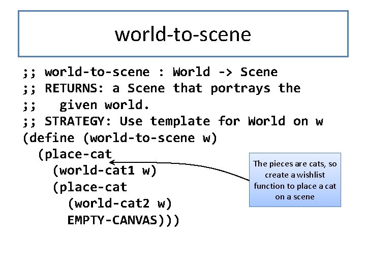 world-to-scene ; ; world-to-scene : World -> Scene ; ; RETURNS: a Scene that