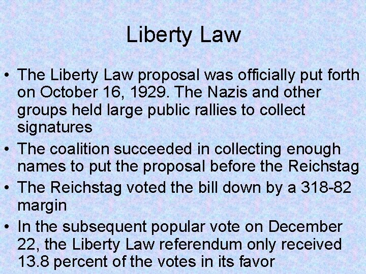 Liberty Law • The Liberty Law proposal was officially put forth on October 16,