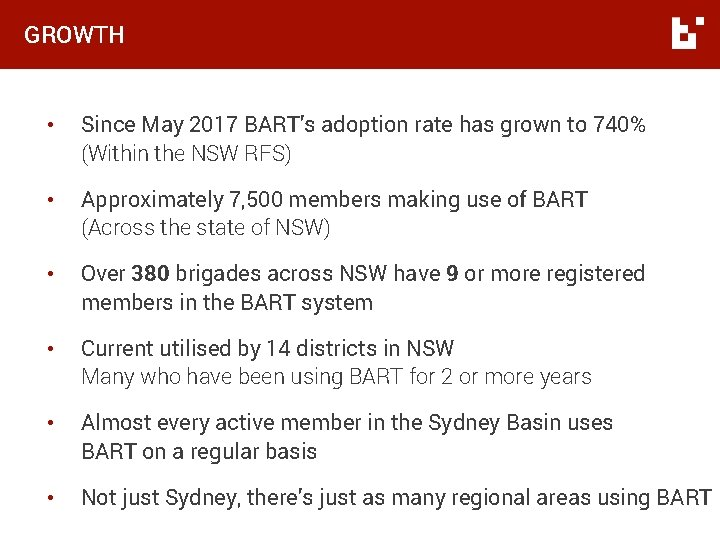 GROWTH • Since May 2017 BART's adoption rate has grown to 740% (Within the