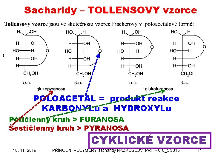 Sacharidy – TOLLENSOVY vzorce POLOACETAL = produkt reakce KARBONYLu a HYDROXYLu Pětičlenný kruh >
