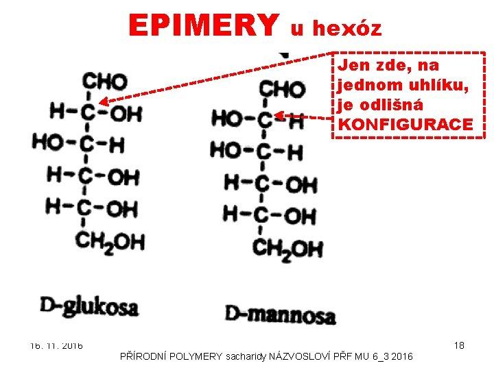 EPIMERY u hexóz Jen zde, na jednom uhlíku, je odlišná KONFIGURACE 16. 11. 2016