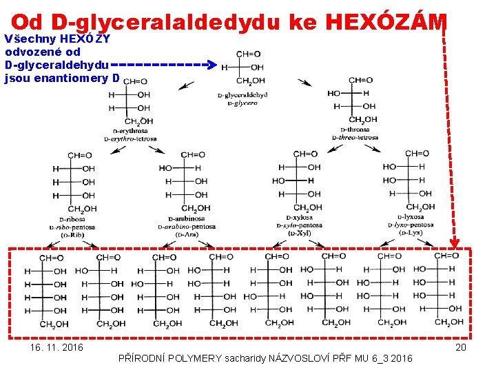 Od D-glyceralaldedydu ke HEXÓZÁM Všechny HEXÓZY odvozené od D-glyceraldehydu jsou enantiomery D 16. 11.