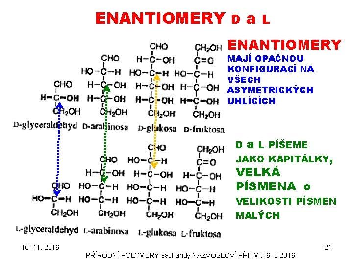 ENANTIOMERY D a L ENANTIOMERY MAJÍ OPAČNOU KONFIGURACÍ NA VŠECH ASYMETRICKÝCH UHLÍCÍCH D a