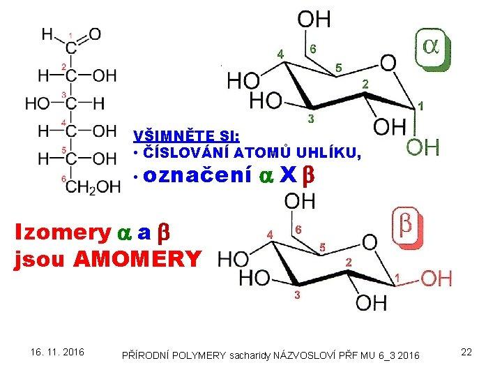 VŠIMNĚTE SI: • ČÍSLOVÁNÍ ATOMŮ UHLÍKU, • označení a X b Izomery a a