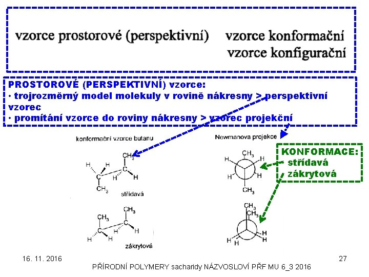 PROSTOROVÉ (PERSPEKTIVNÍ) vzorce: • trojrozměrný model molekuly v rovině nákresny > perspektivní vzorec •