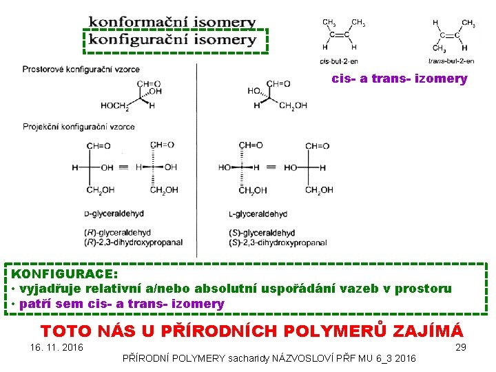 cis- a trans- izomery KONFIGURACE: • vyjadřuje relativní a/nebo absolutní uspořádání vazeb v prostoru