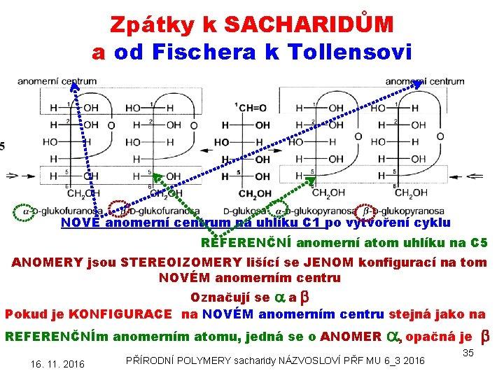 Zpátky k SACHARIDŮM a od Fischera k Tollensovi NOVÉ anomerní centrum na uhlíku C