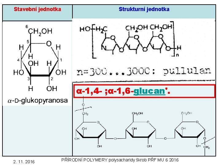 Stavební jednotka Strukturní jednotka α-1, 4 - ; α-1, 6 -glucan'. 55 2. 11.