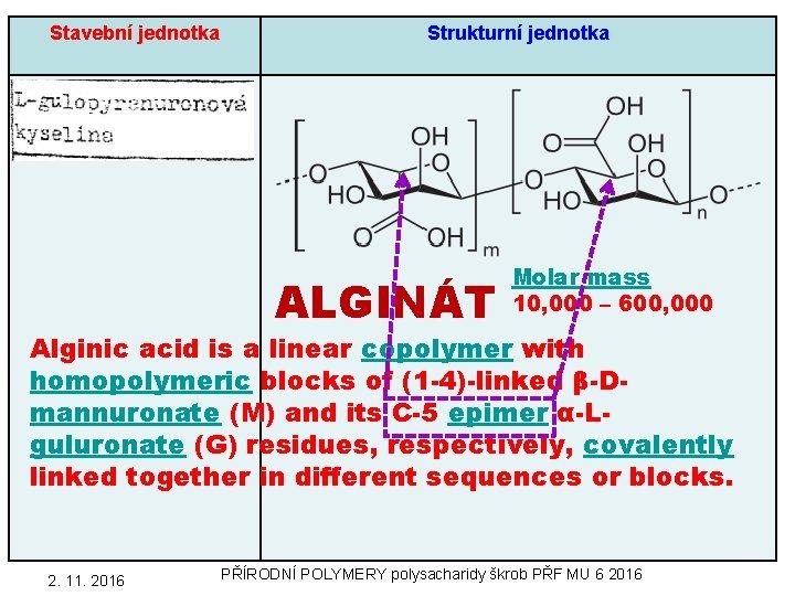 Stavební jednotka Strukturní jednotka ALGINÁT Molar mass 10, 000 – 600, 000 Alginic acid