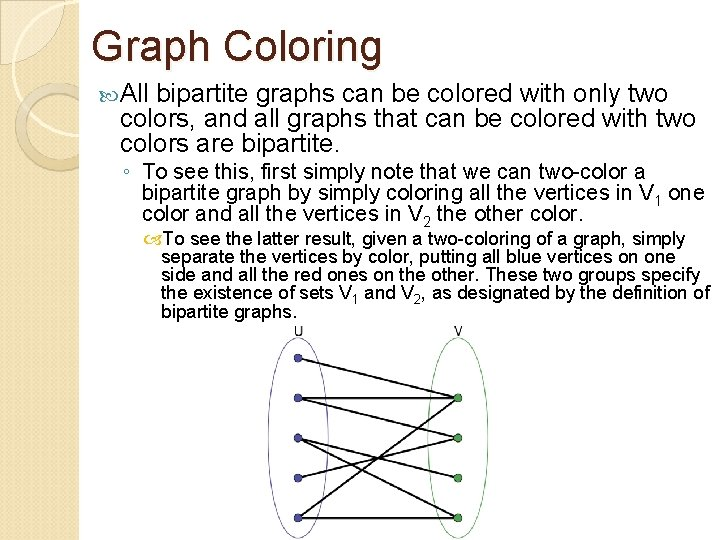 Graph Coloring All bipartite graphs can be colored with only two colors, and all