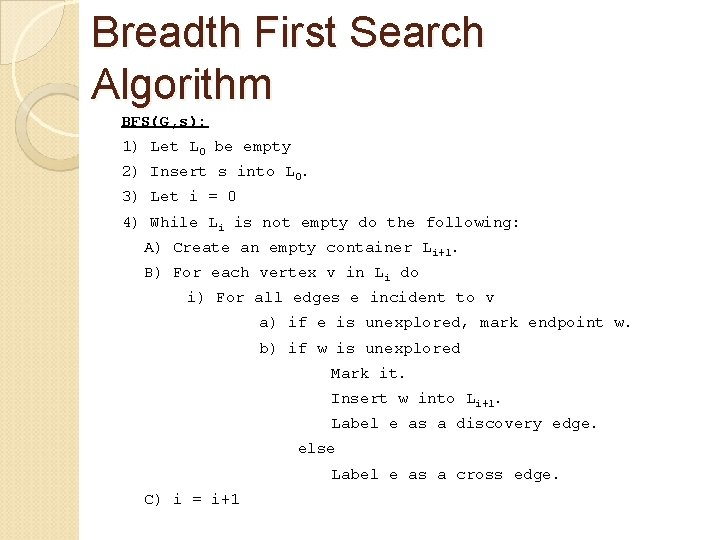 Breadth First Search Algorithm BFS(G, s): 1) Let L 0 be empty 2) Insert