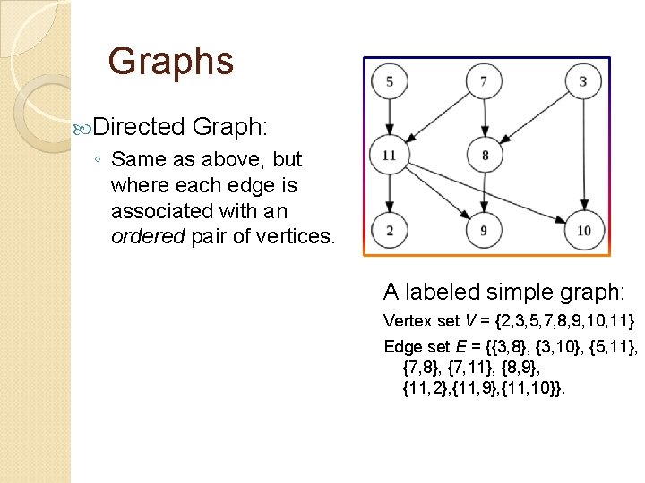 Graphs Directed Graph: ◦ Same as above, but where each edge is associated with